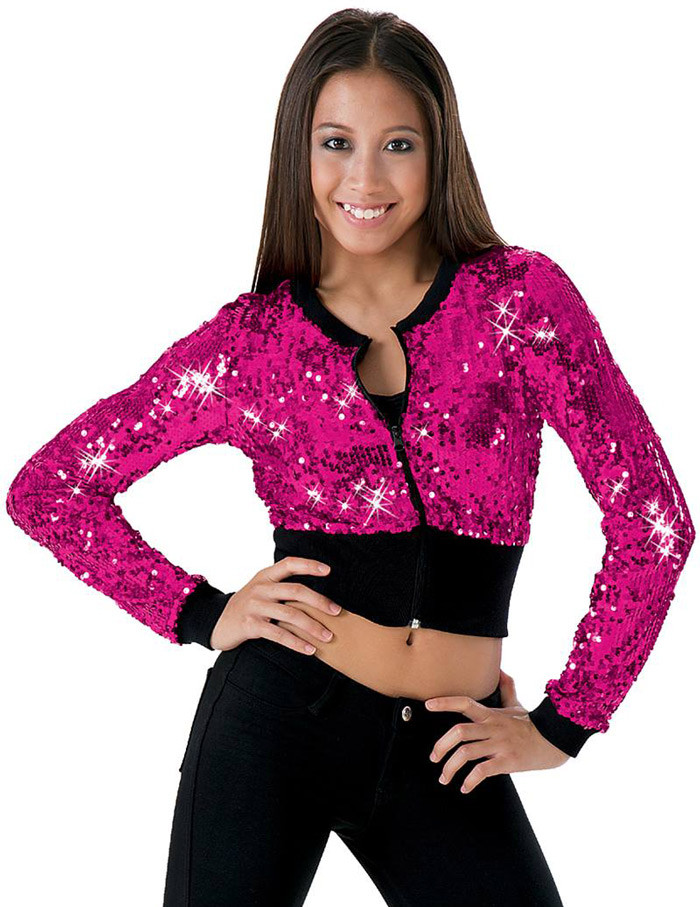 WIDE WAISTBAND SEQUIN JACKET