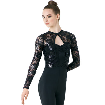 SEQUIN AND LACE SLEEVE UNITARD