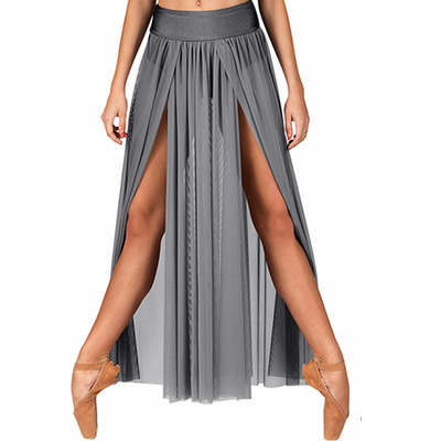 EMBALLE LONG MESH SKIRT WITH ATTACHED BRIEF