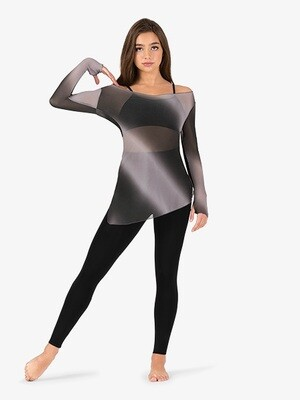 PERFORMANCE OMBRE MESH LONG SLEEVE TUNIC