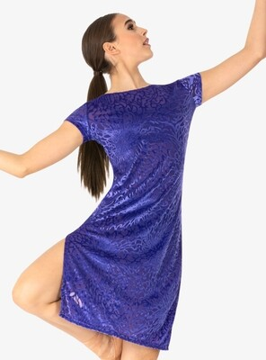 Blue Fantasia Burnout Velvet Short Sleeve Dance Dress