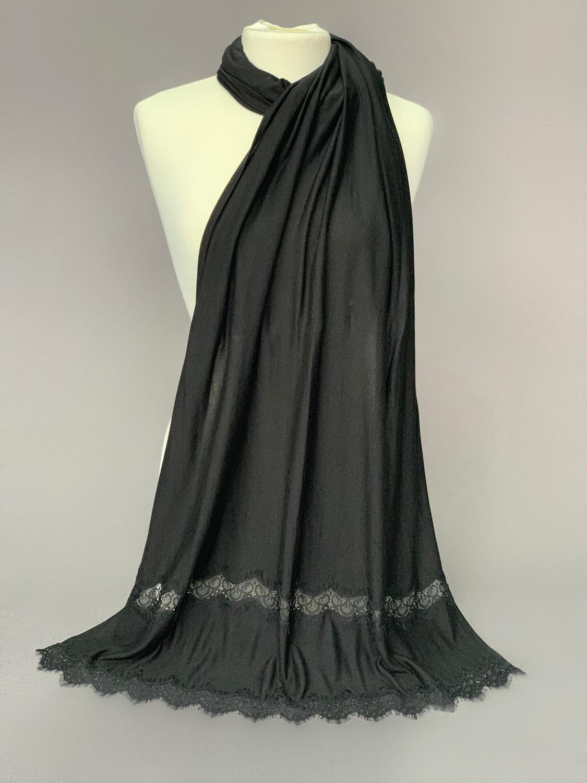 Non Stretch Jersey Black Lace