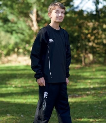 Childrens weather proof training top with embroidered club badge