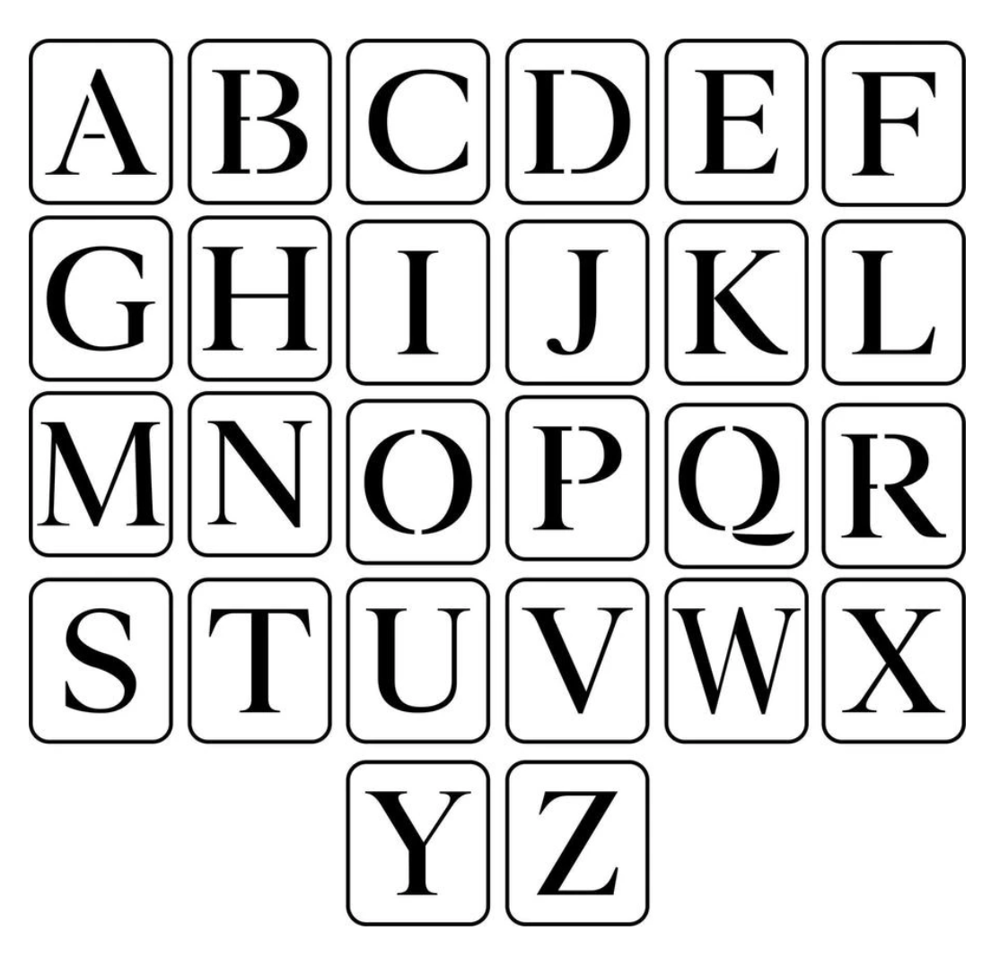 JRV Uppercase Letters Stencil
