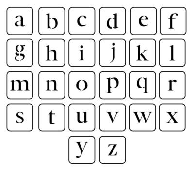 JRV Lowercase Letters Stencil