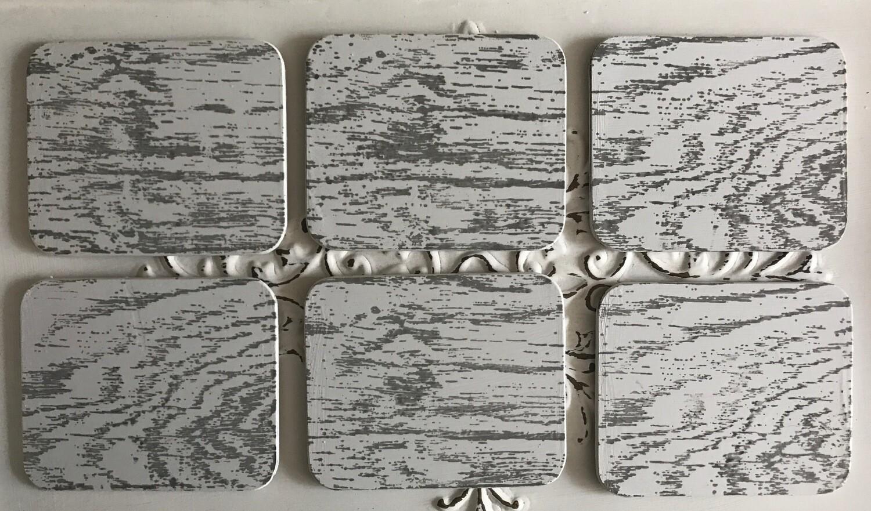 Wood Plank Design Coasters - Set of 6