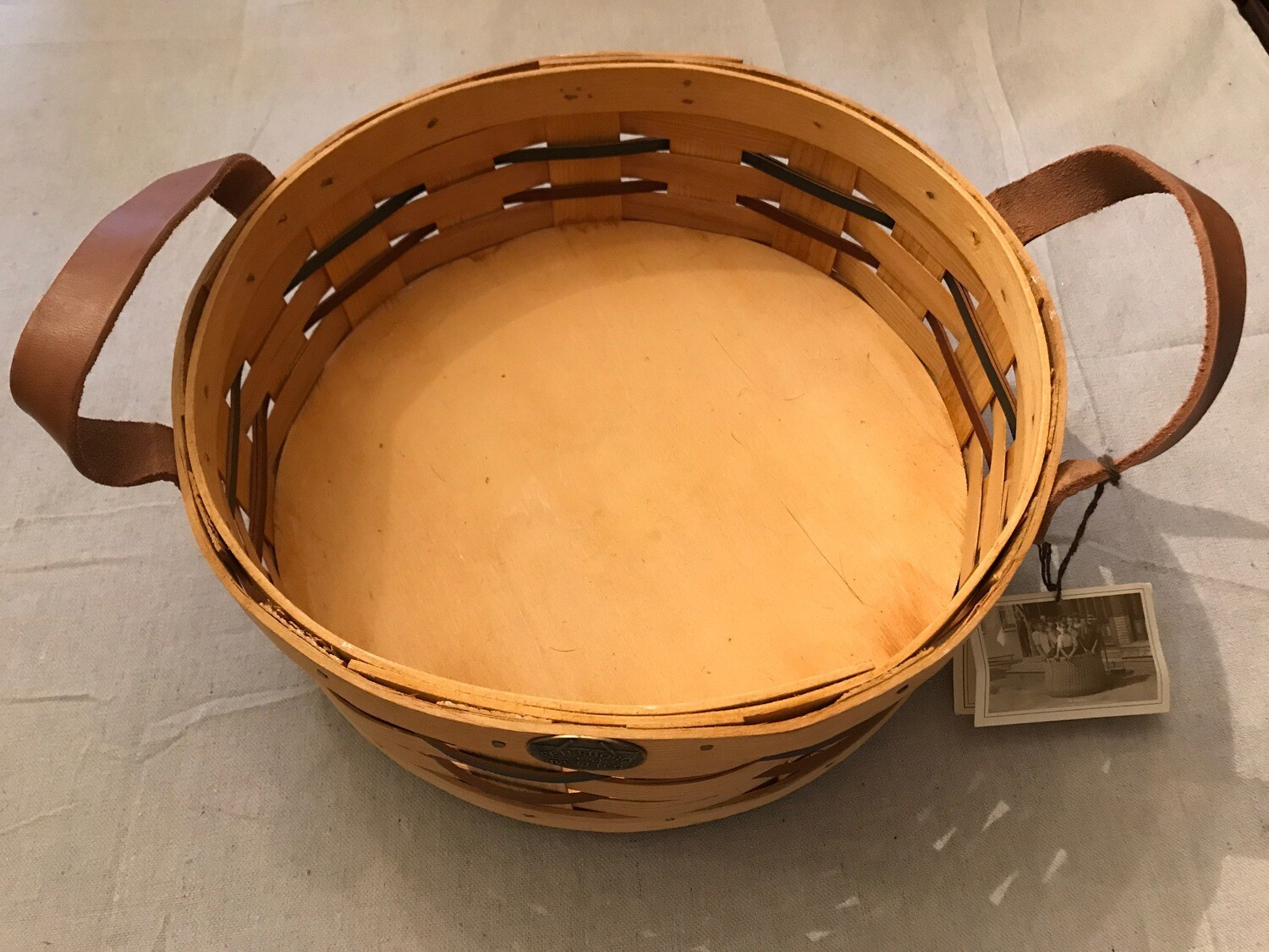 Peterboro Basket Co Lazy Susan Basket with Leather Handles