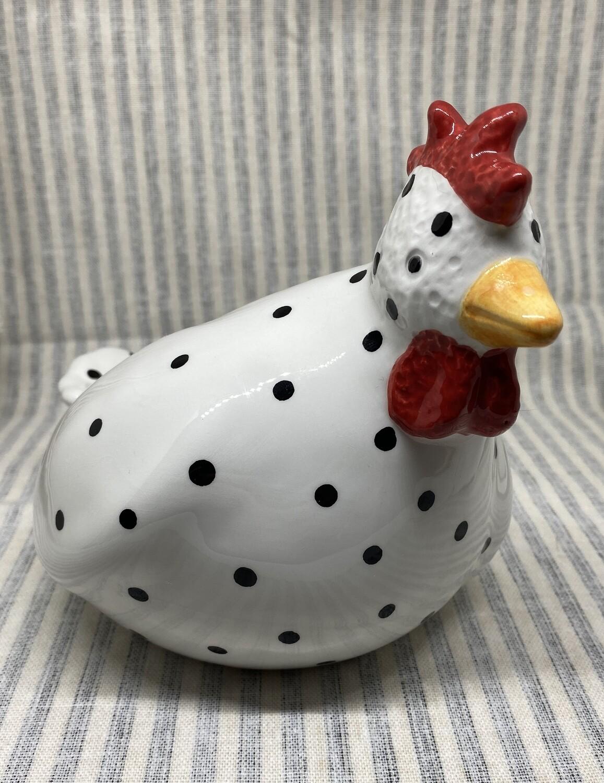 White Polka Dot Ceramic Chicken