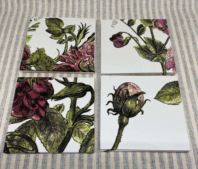 Wood Pink Floral Coasters - Set of 4