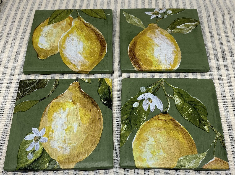 Lemon Tree Ceramic Coaster Set of 4