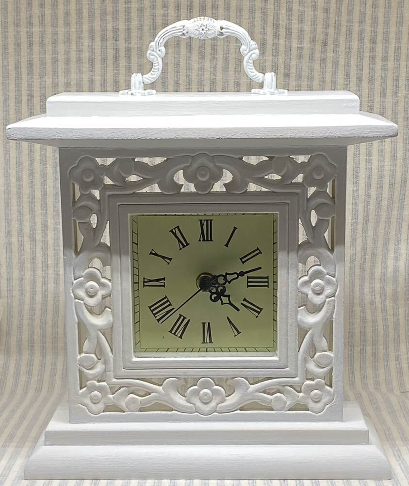Farmhouse Inspired White Wood Mantel Clock