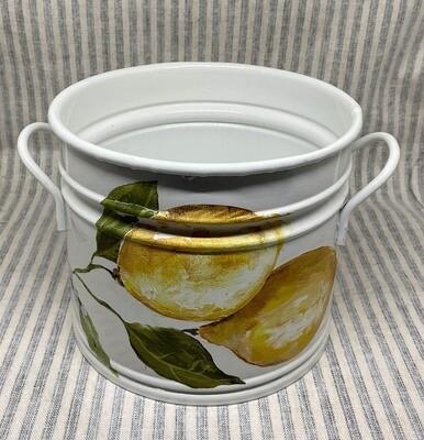 Lemon Design White Enamel Bucket