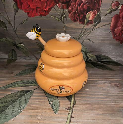 Ceramic Honey Miel Honey Pot and Wood Dipper