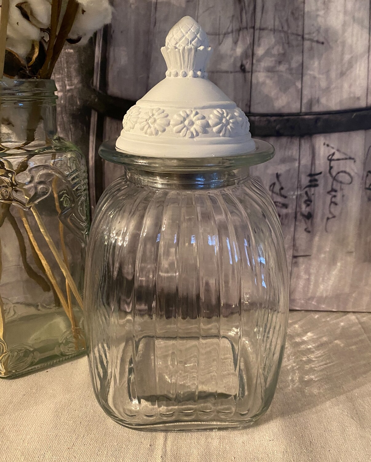 Large Artland Apothecary Jar with White Metal Lid