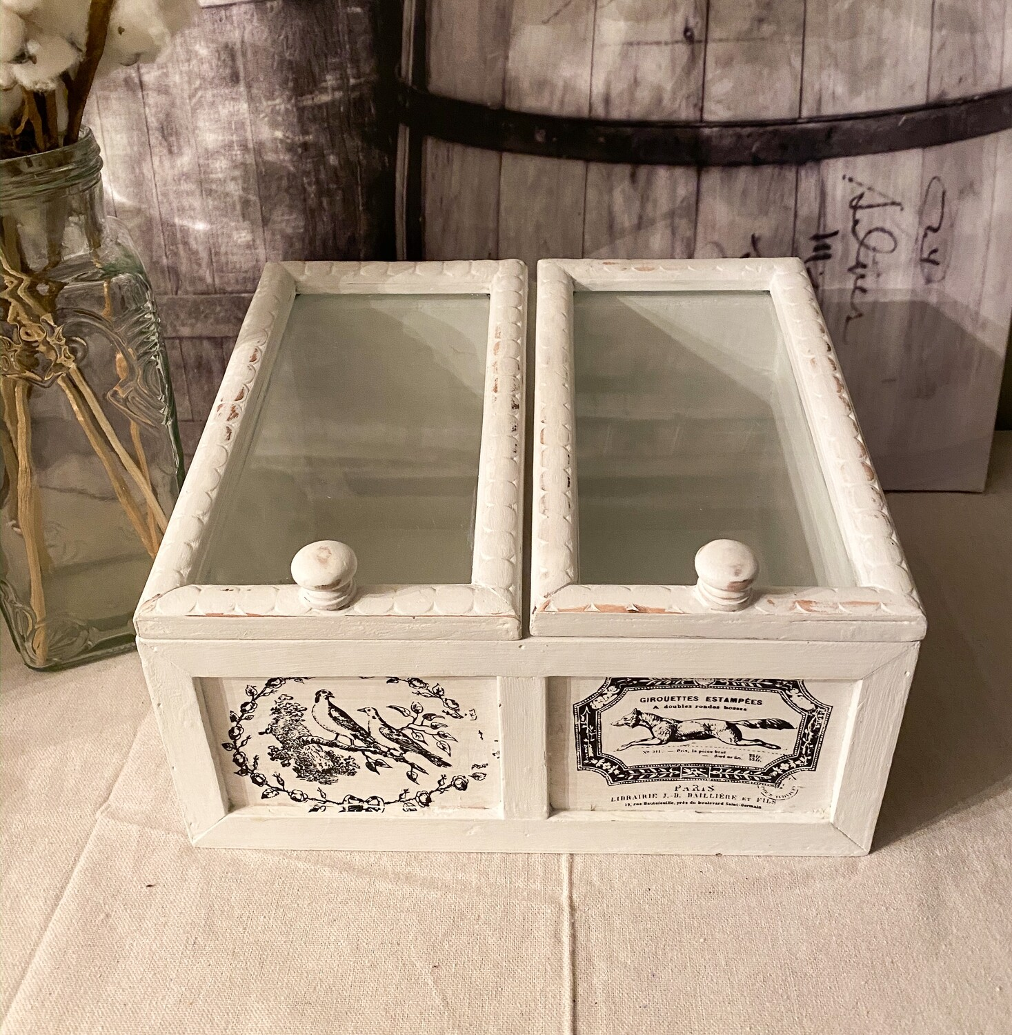 Two Compartment Countertop Wood Storage Bin with Glass Doors