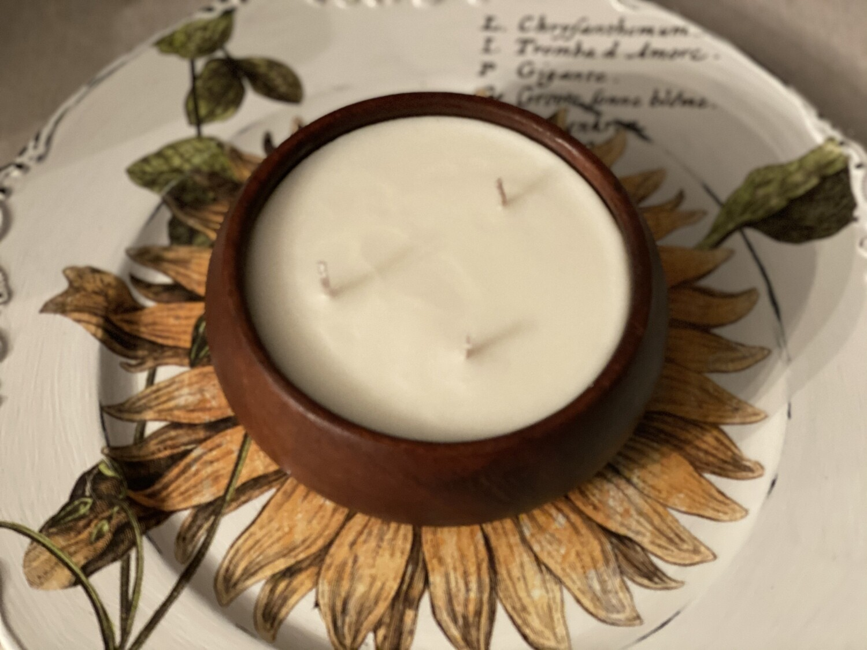 Coconut Lime Verbena Wood Bowl Soy Candle 16oz