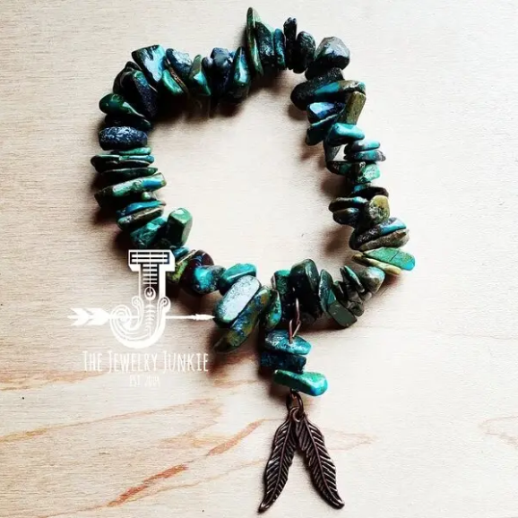 The Jewelry Junkie Natural Turquoise Bracelet w/ Copper Feathers