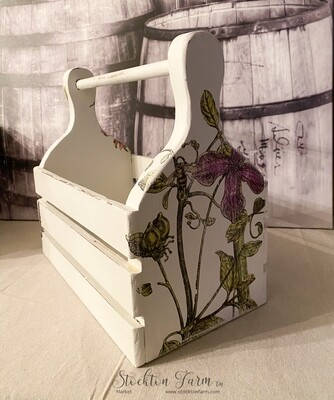 French Country Inspired Garden Tools Wood Tote