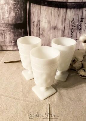 Vintage McKee Milk Glass Goblet 8oz