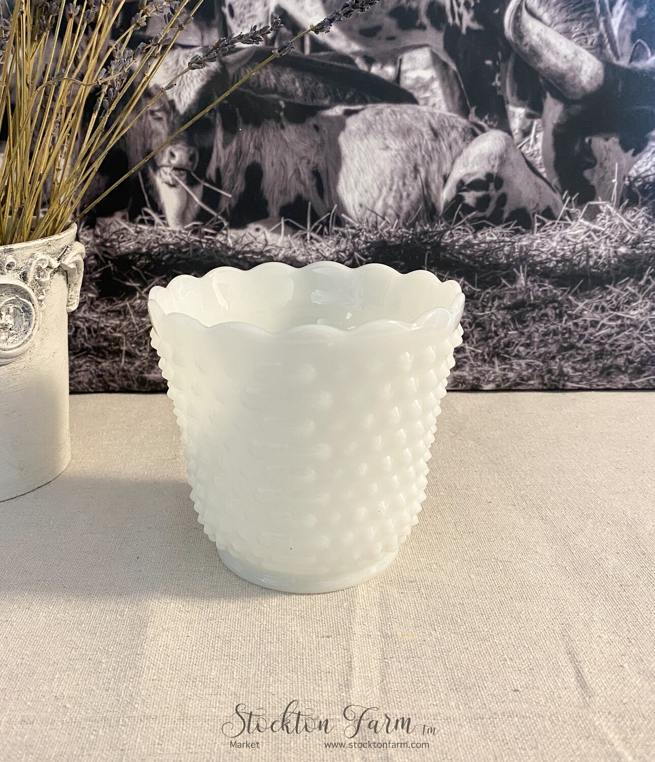 Anchor Hocking Milk Glass Hobnail Cache Pot #22