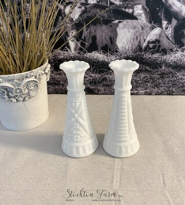 Anchor Hocking Milk Glass Bud Vase Stars & Bars Pattern 6