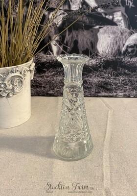 Anchor Hocking Clear Glass Bud Vase Stars & Bars Pattern 6
