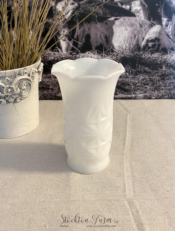 Hazel Atlas Milk Glass Vase Starburst Pattern