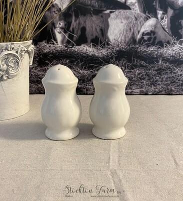 Farmhouse Inspired White Ceramic Salt & Pepper Shaker Set