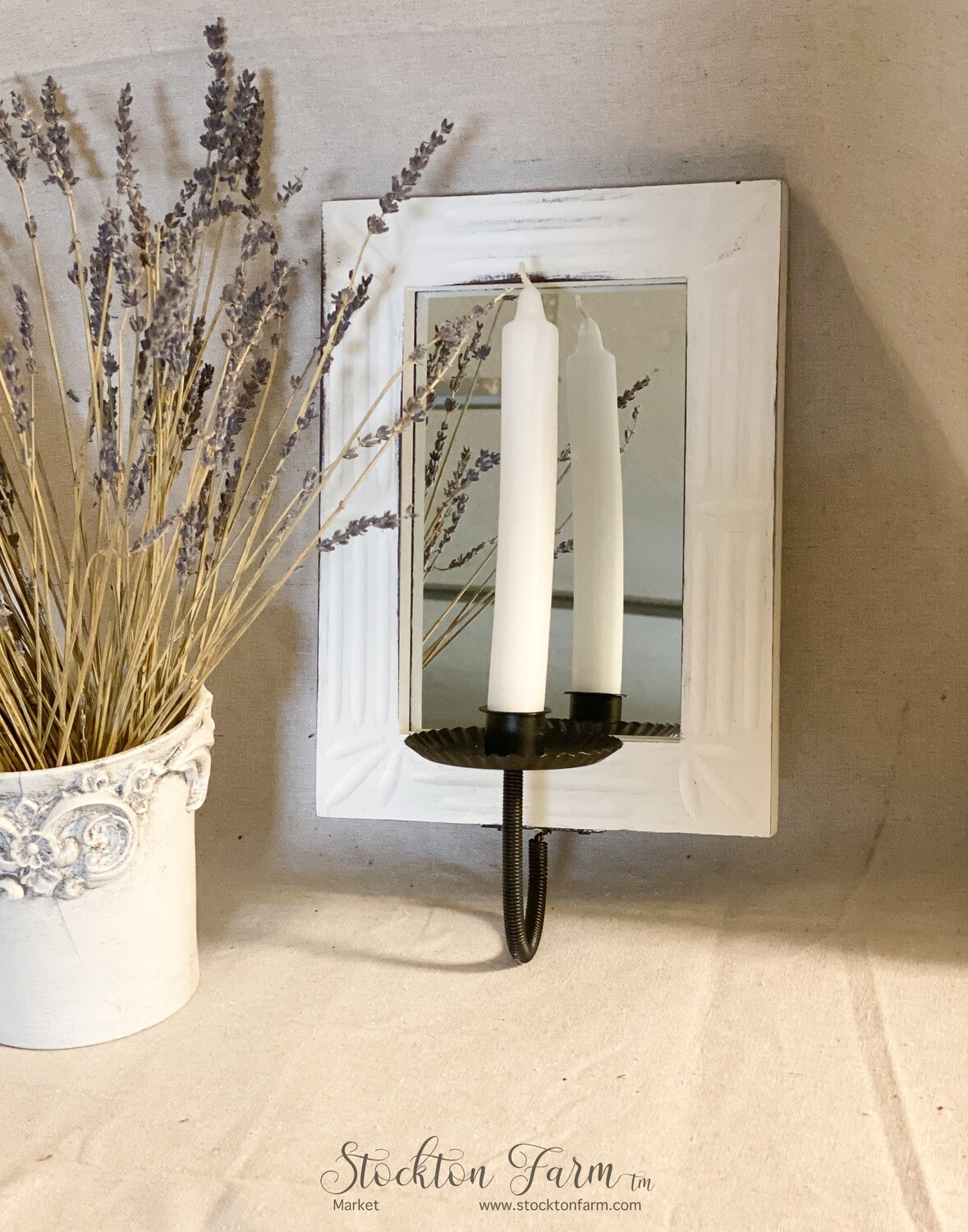 Wall Hanging Wood Candlestick Mirror