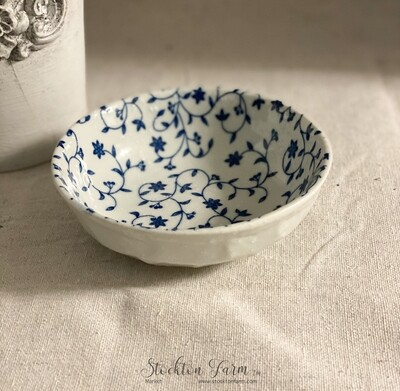 Blue Floral Speckled Trinket Dish