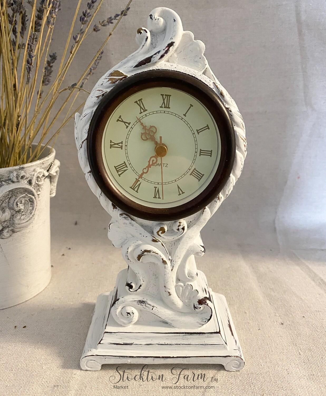 White Distressed Quartz Table Clock