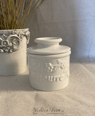 French Design White Beurre Crock