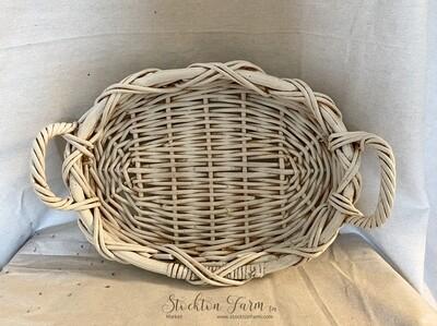 Whitewashed Handled Basket / Tray