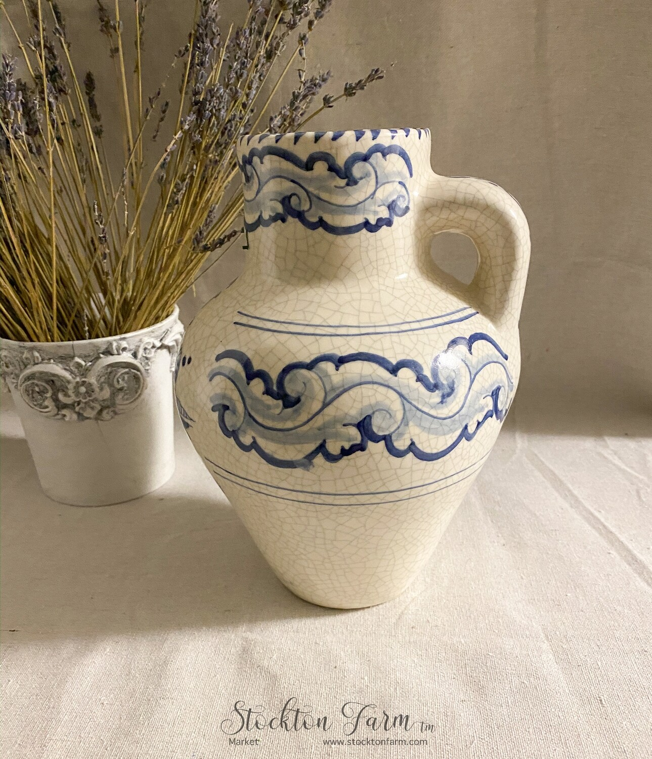 Ivory and Blue Ceramic Pitcher