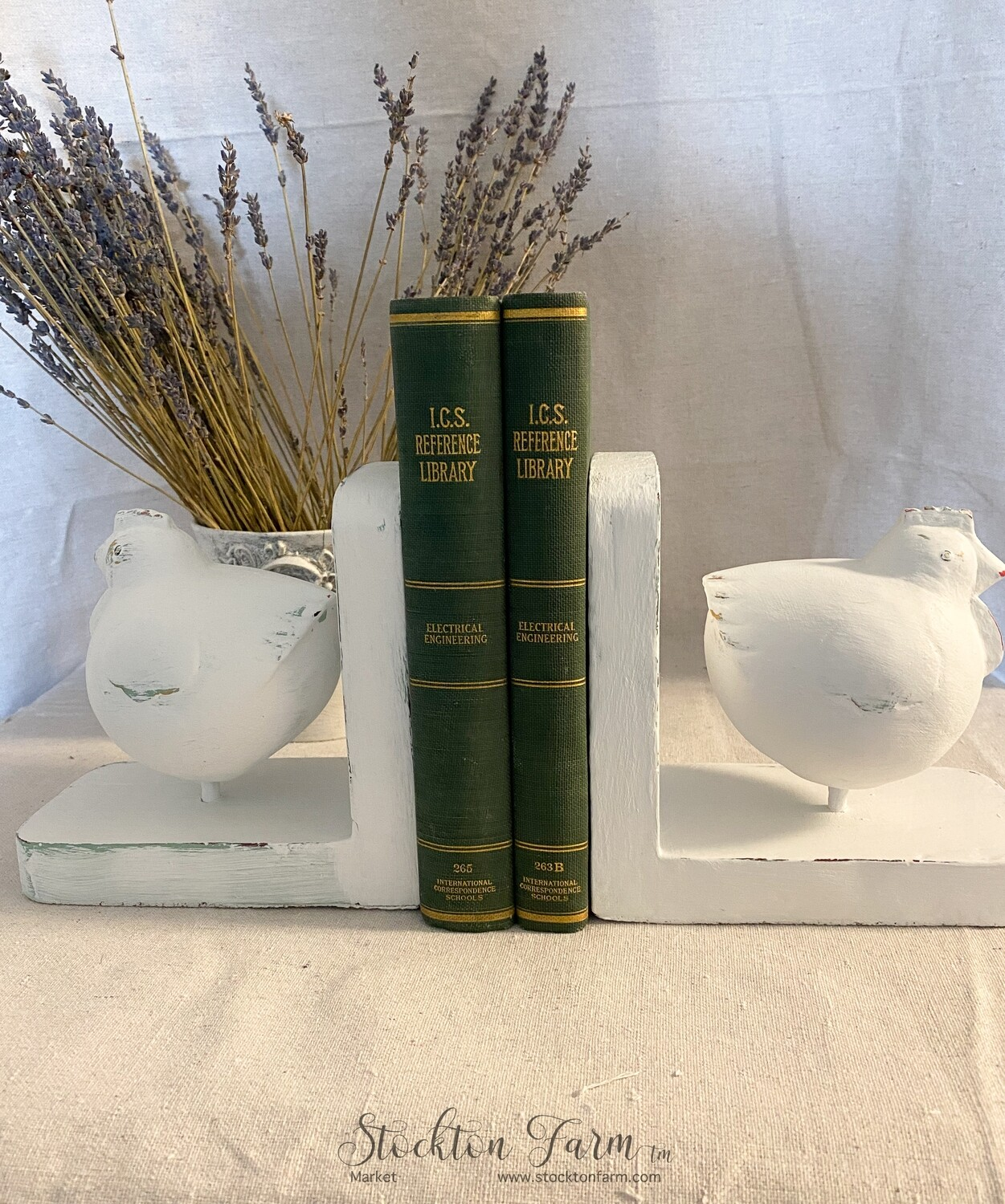 Rustic Farmhouse Wood Chicken Bookends