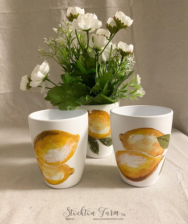 Summer Lemons Design White Clay Flower Pots / Planters