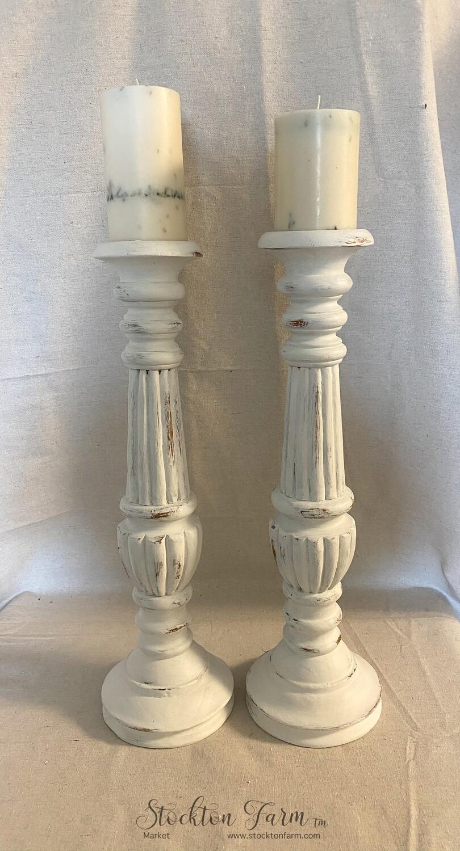 "Farmhouse Inspired Tall Wood Candlesticks 20"""