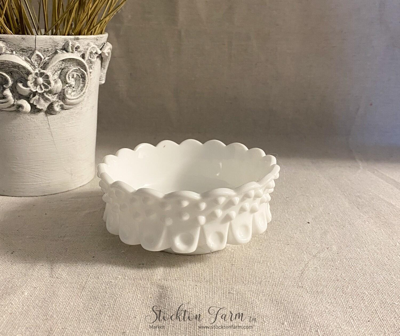Vintage Fenton Hobnail Milk Glass Dish