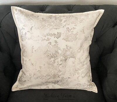 Pastoral Toile Ivory Throw Pillow Covers 20x20