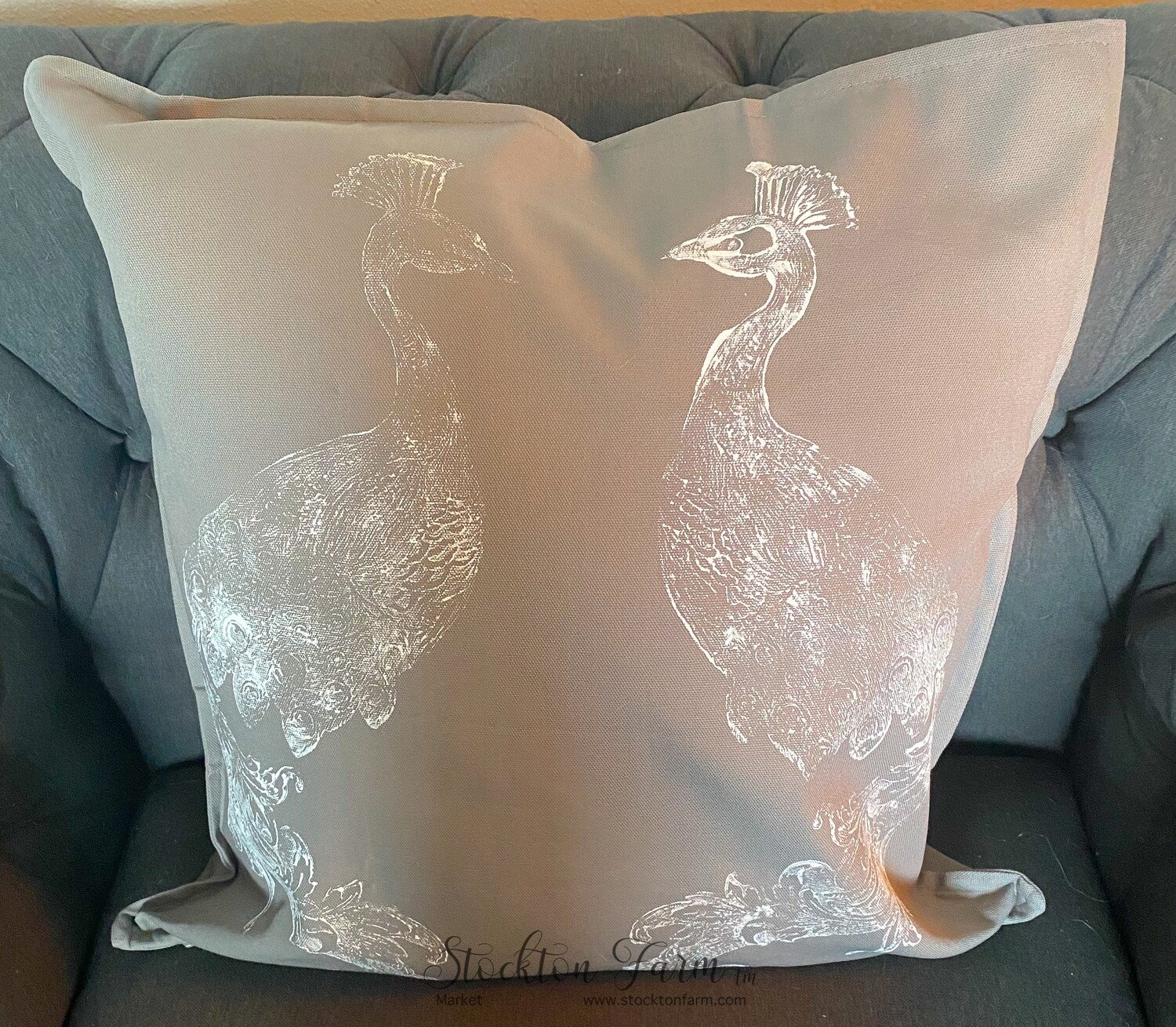 Peacock Gray Throw Pillow Covers 20x20