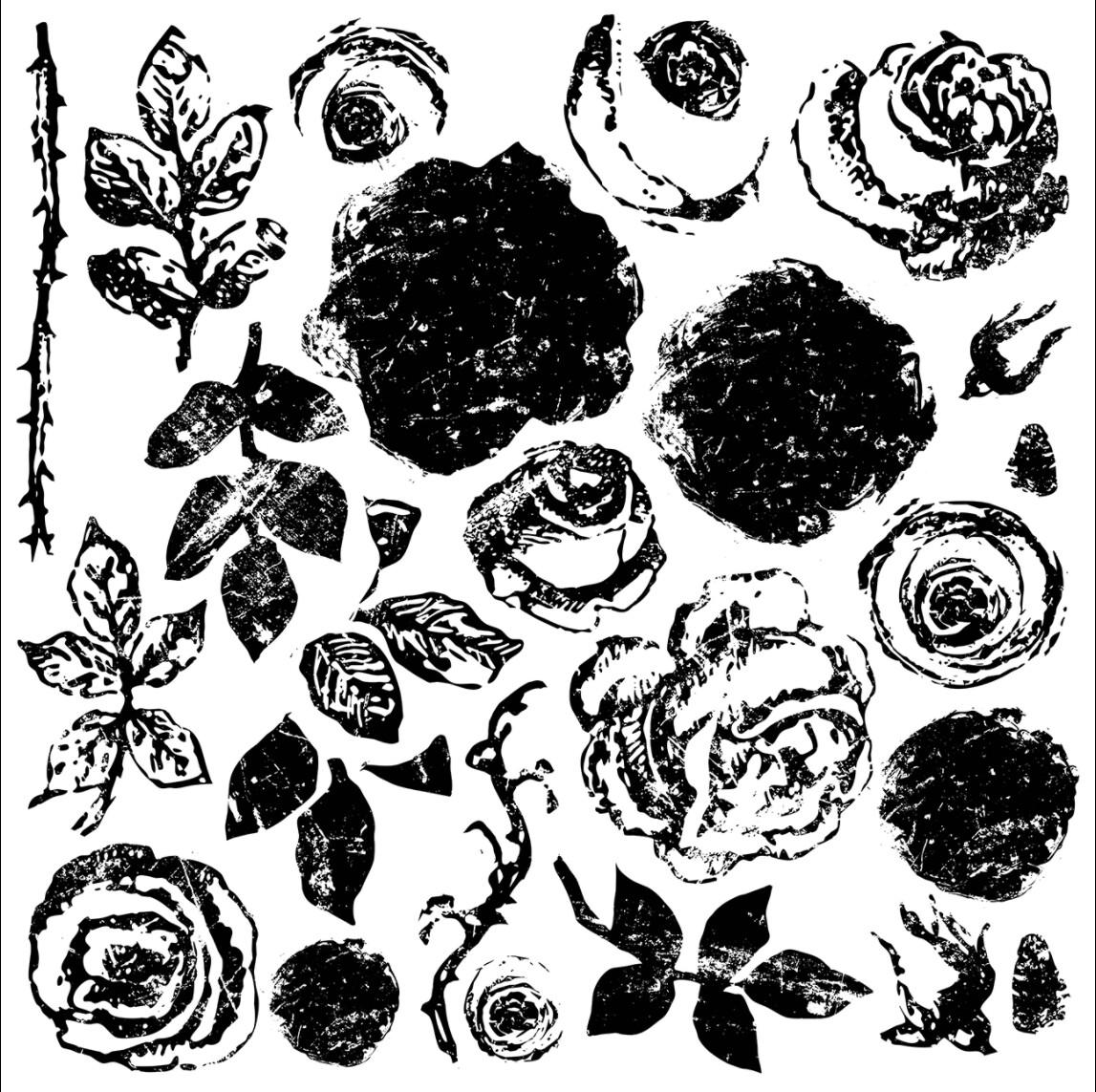 IOD Painterly Roses 12×12 DECOR STAMP