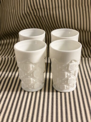 WESTMORELAND 8oz Flat Tumbler Old Quilt Milk Glass Set