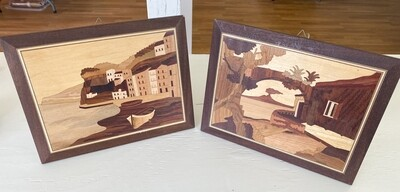 Vintage Sorrento Italy Marquetry Inlay Wood Wall Plaque