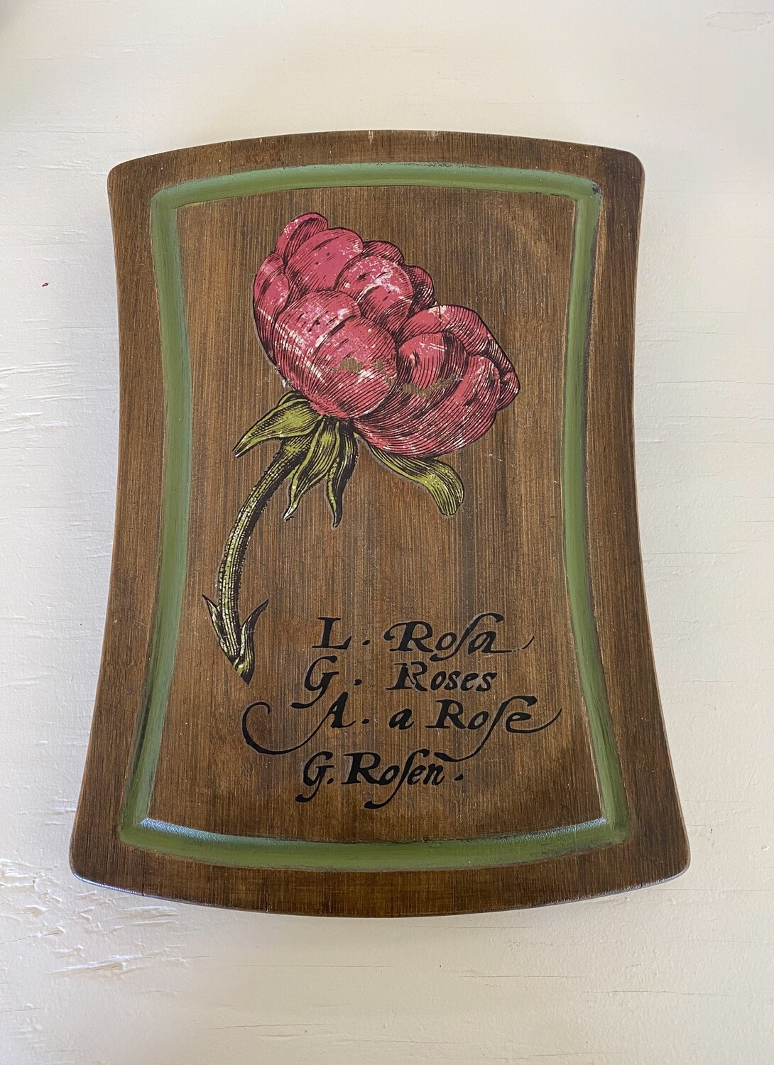 French Floral Wood Wall Plaque