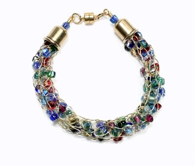 Multicolor Gold French Wire Knit Bracelet