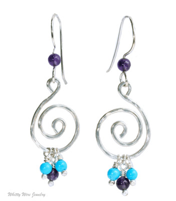 Sterling Silver Celtic Swirl earrings with Turquoise and Amethyst