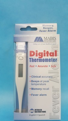 Thermometer, Digital, w/LCD Display and Plastic Storage Case
