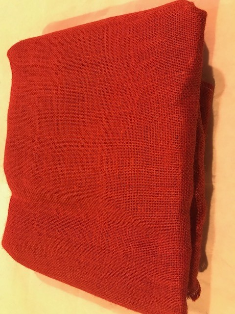 "Burlap, Red, 46"" to 48"" widths by 5 yards per package"
