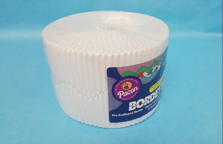 """Bordette, White, Pre-Scalloped border 2 1/4"""" x 50' rolls"""