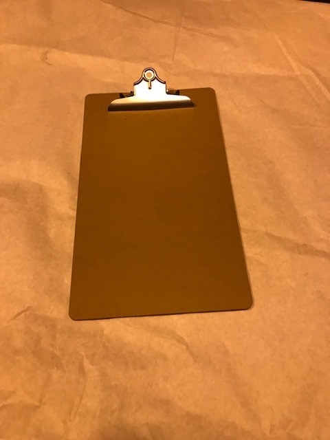 """Clip Board, Legal Size, Brown 1/8"""" thick Hardboard, Smooth both sides, Nickel clip, All Matic."""